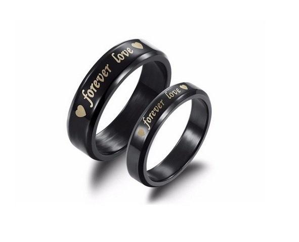 永遠に愛チタン鋼の約束リングクリスタルシルバーカップル結婚指輪バレンタインデーpresen