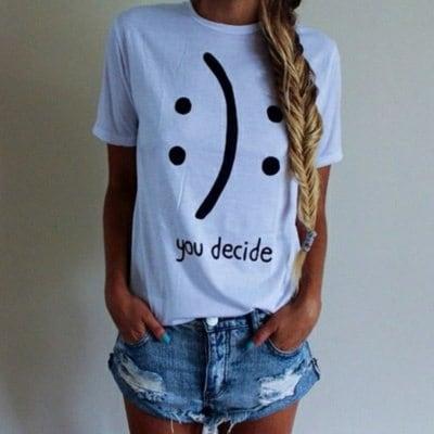夏スタイルの女性ファッションかわいいプリント半袖OネックのTシャツ
