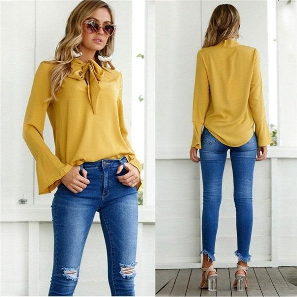 ファッションレディースカジュアルシャツロングスリーブシフォンシャツTシャツシャツ女性