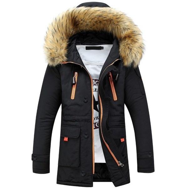 New 2015 Winter Jacket Fur Collar Men S Down Jacket Cotton-padded Coat Thickening Outdoor Jacket Parka Men Manteau Homme MJ244