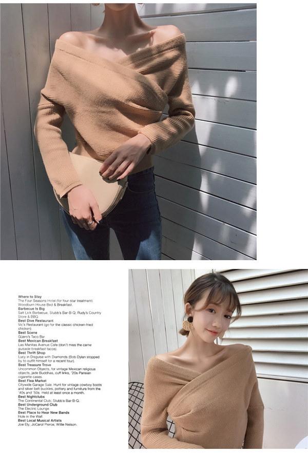 ニットセーター  カシュクール風 ツイスト  ざっくり ニット リブ編み 長袖  セクシー  無地 シンプル  きれいめ  ニット レディース
