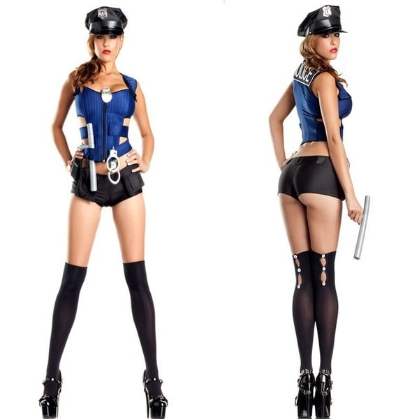 Blue police uniforms sexy Halloween Costume Cosplay Shorts Costumes (Size: M, Color: Blue)