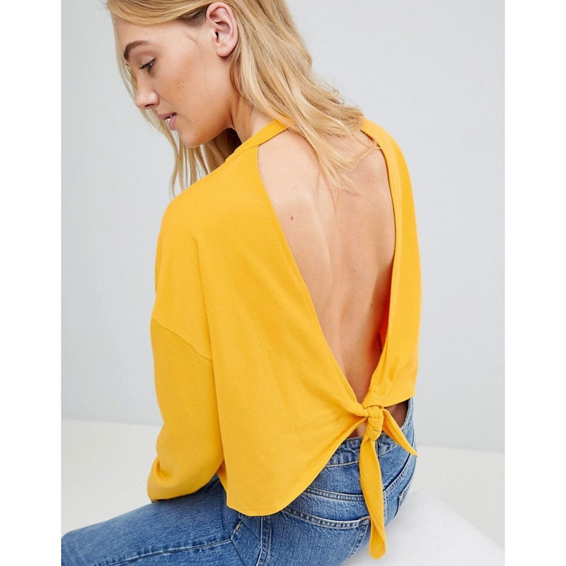 エイソス レディース トップス【ASOS TALL Sweatshirt With Open Knot Back】Yellow