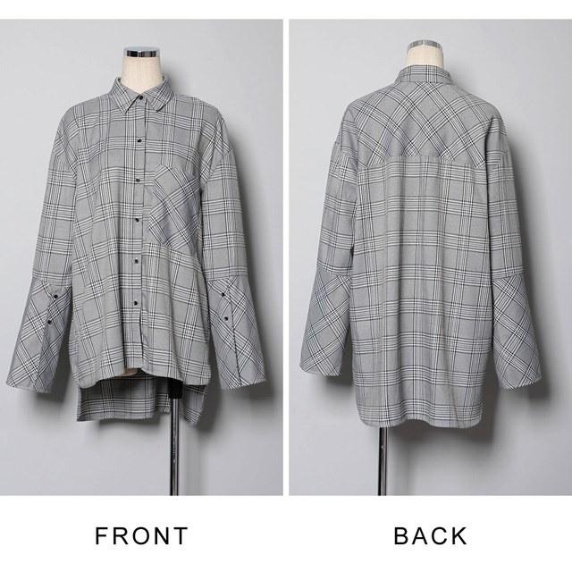 【国内発送】ワイドスリーブチェックシャツ