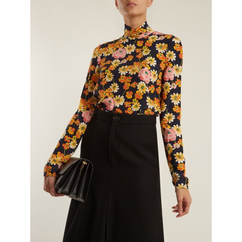 ジョゼフ レディース トップス【Vienna high-neck floral-print silk top】Black