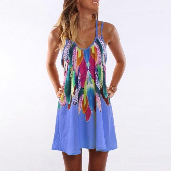 夏カジュアルフェザープリントビーチドレス女性シフォンノースリーブスパゲッティストラップショートミニドレス
