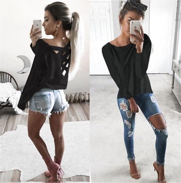 2017新しいファッションレディースルーズロングスリーブトップブラウスシャツカジュアルコットンTシャツTDY