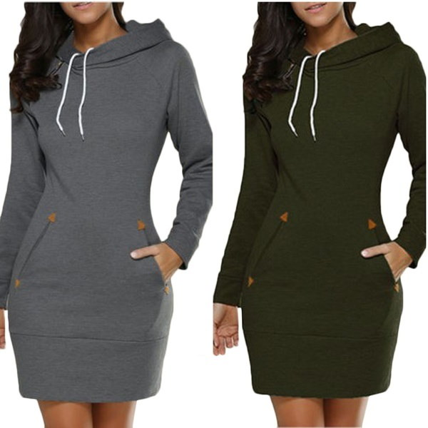 女性ファッションフード付きジッパーロングスリーブヘッドセータードレスの秋のスウェット