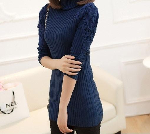 女性のターメノックセーター女性の厚い中長プルオーバーベーシックシャツ長袖セーター