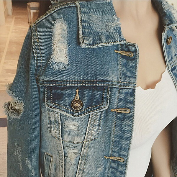 女性ファッションロングスリーブリップホールデニムジャケットスリムコットンショートジーンズジャケットコート