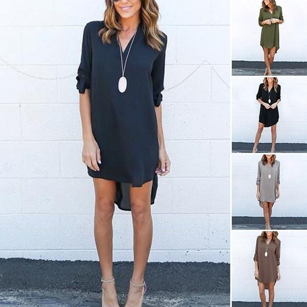 女性のファッションソリッドカラーVネックロングスリーブシフォンカジュアルルーズブラウスドレスプラスサイズ