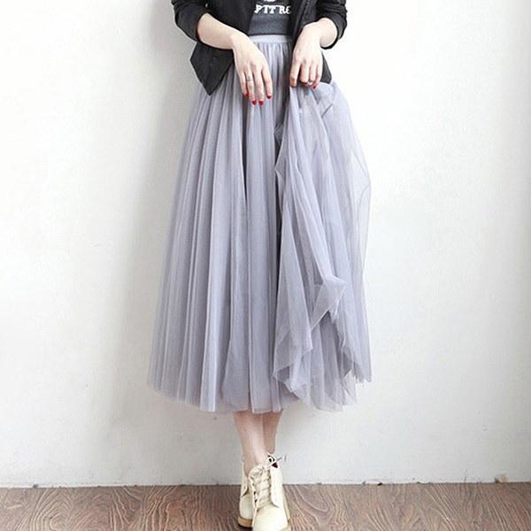 4レイヤーチュールスカート女性夏弾性ハイウエストレディースロングメッシュスカートレディースツツムマキシプリーツ