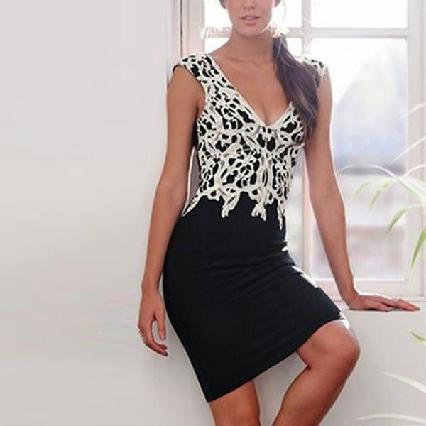 ファッション女性レースセクシーなレディースノースリーブボディコンビジネスカクテルパーティーミニドレスオーバーサイズ