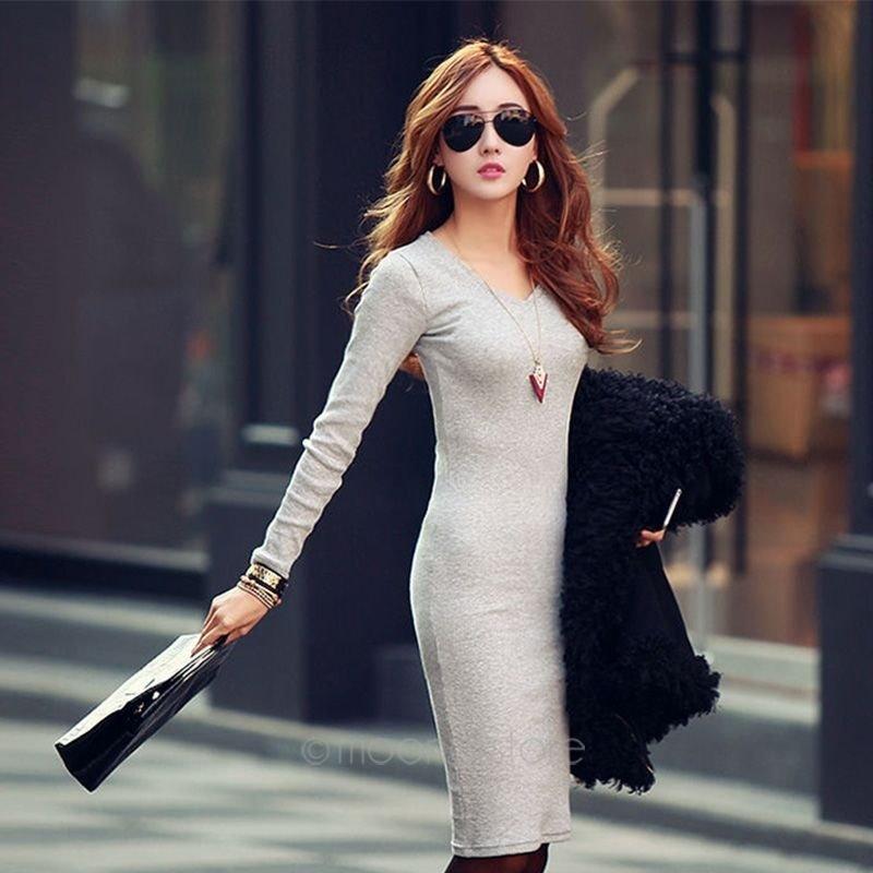 セクシーOL女性Vネックロングスリーブニットスリムセーターボディコン鉛筆ドレス