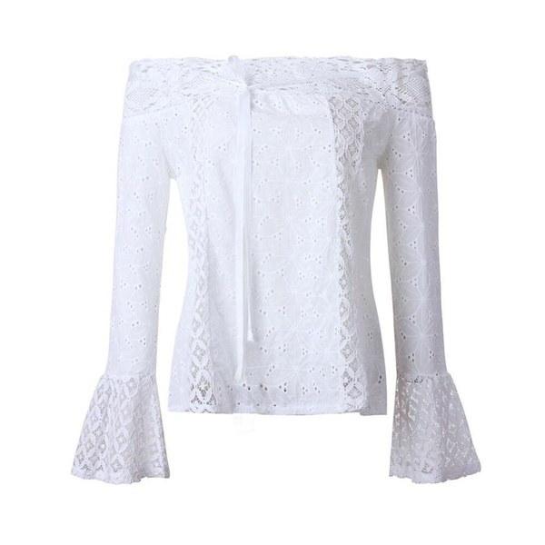 女性オフショルダーロングスリーブレースルーズブラウストップTシャツ