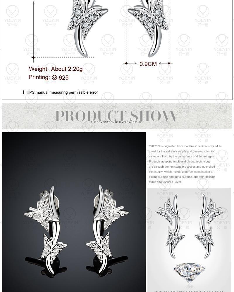 ファッションジュエリージルコン耳のペンダントプラタ925純銀製のスタッドピアスの女性のpendientes OS