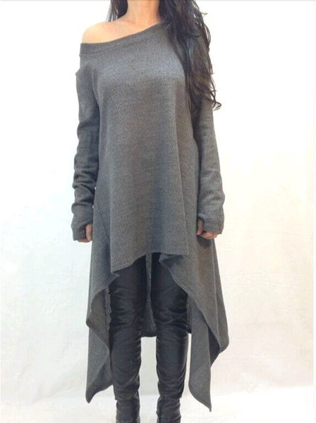 Autumn Women Fashion Long Sleeve Irregular Hem Cotton Slim Fit Tunic Dress Shirts Long Blouse Tops