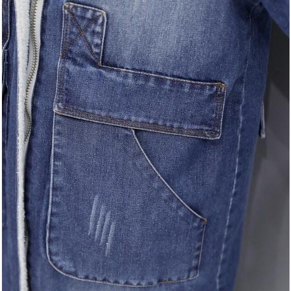 デニムコート ロング フード付き  裏起毛 冬 レディース 大きいサイズ アウター ボアジャケット Gジャン 長袖 デニムジャケット