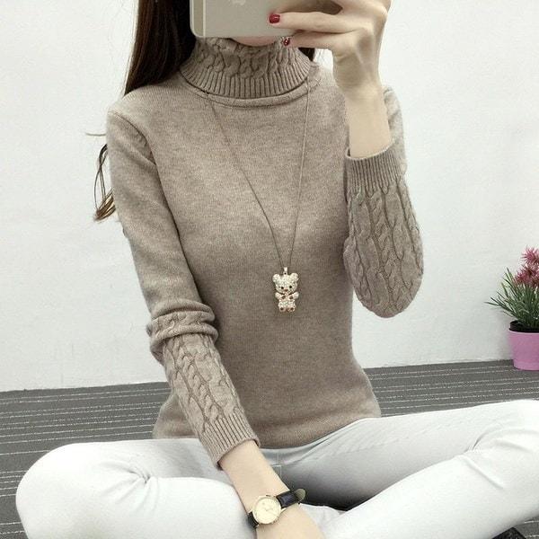 厚めの暖かい編みセーターカジュアルスリム弾性タートルネックニット女性のトップス