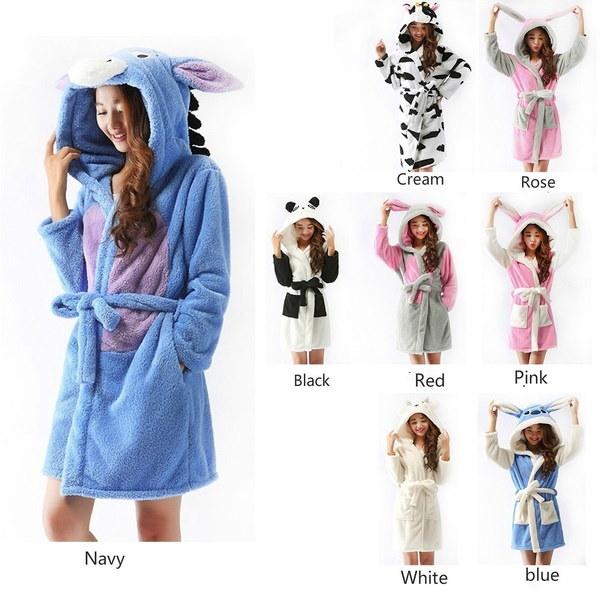 女性浴衣パジャマ動物のデザインローブパジャマ女性漫画パンダサンゴベルベットバスローブ