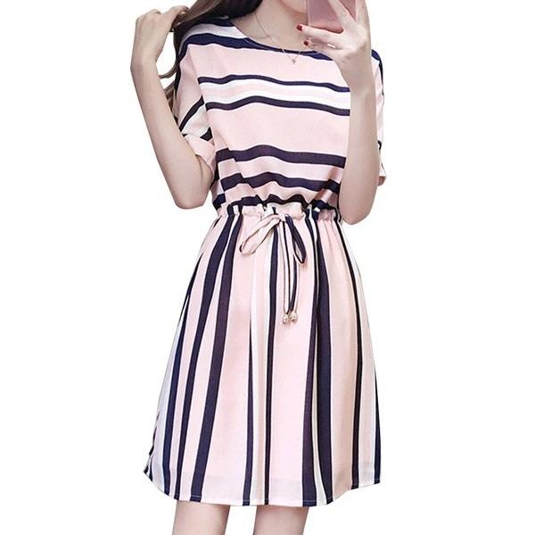 新しい夏のファッション女性スリム半袖カジュアルストライプワンピース