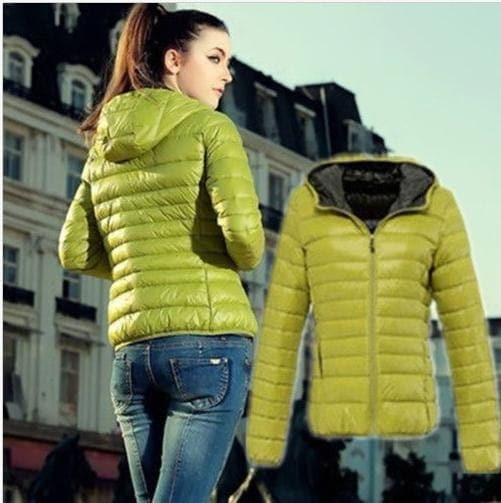 ファッション女性レディー薄いスリムウィンターコートパーカーショートオーバーコート