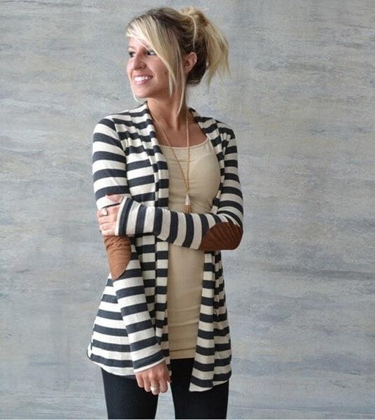 新しいデバイスのヨット/女性の不規則な長袖ストライプのカーディガン雑貨アウトウェアセーター
