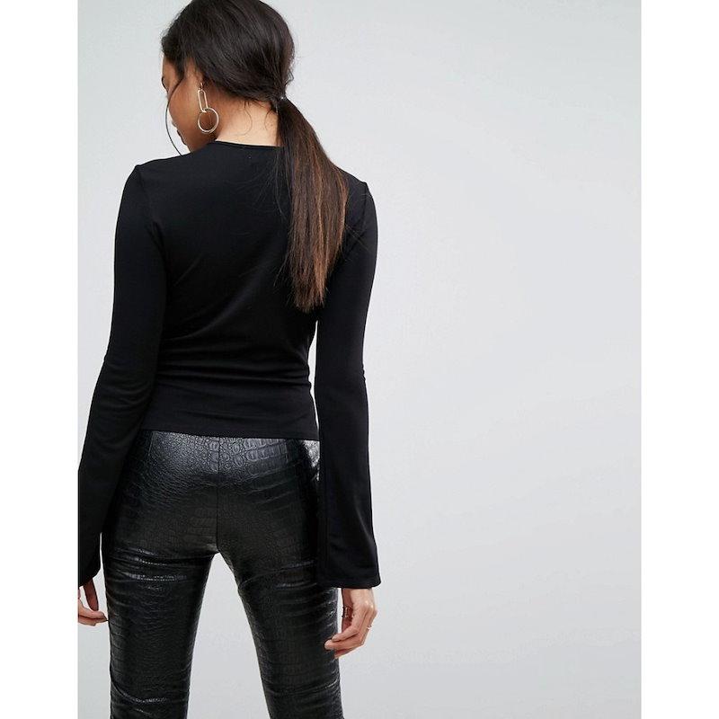 アイビーレベル レディース トップス【Ivyrevel Split Long Sleeve Jersey Top】Black