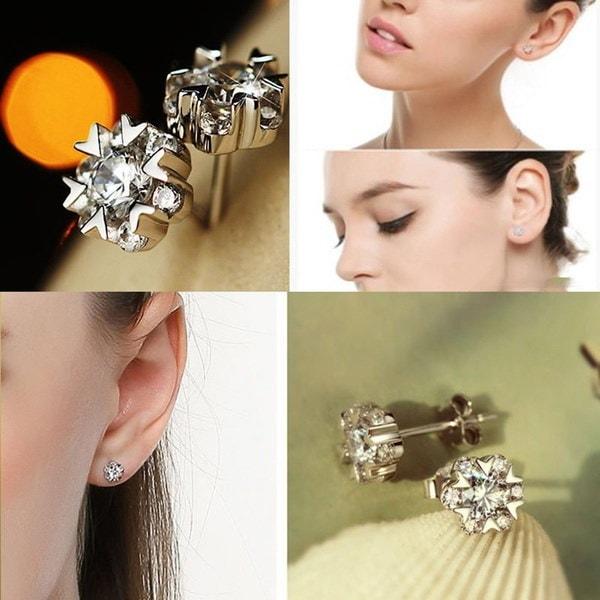 ファッションファンシー新しい魅力的なラインストーン女性のギフト気質ジュエリーイヤリング耳スタッドスノーダン