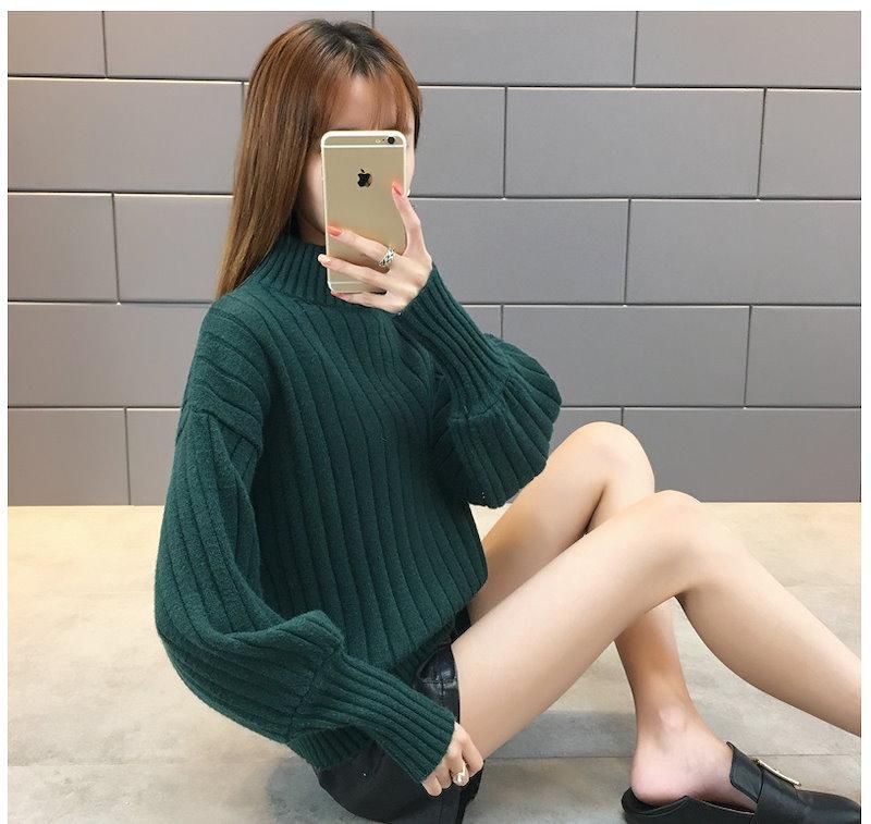 ❤選べる6タイプ❤ロングカフスバルーンスリーブハイネックニット✨シンプルだから着回し力抜群!!冬新作 レデイースファッション 女性大人気 セーター 幅広くしっかり体型カバー 着痩せ セーター