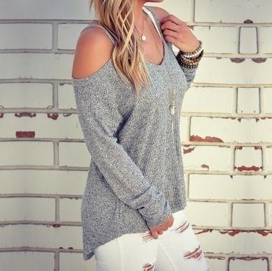女性の秋のルーズOネックオフショルダーロングスリーブニットセーター