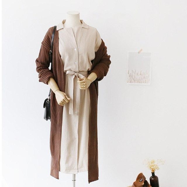 整頓されたリボンストラップシャツ型ロングワンピースオフィスルック格式ルックゲストルック30555デイリールックkorea women fashion style