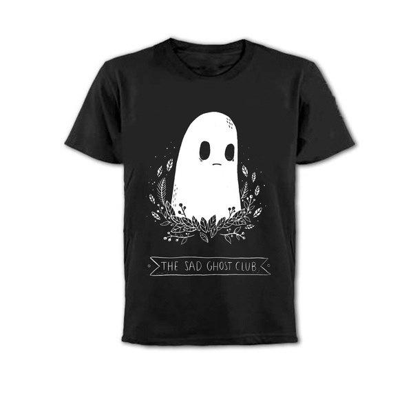 The Sad Ghost Club Unisex Men Women Tumblr Fashion Cute T-shirt Summer Casual Loose Black Tee Tops