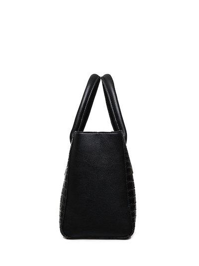 Sleek Crocodile Pattern Zipper Closure Handbag Set