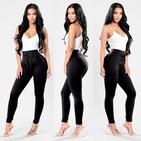 女性のハイウエストスキニーパンツパターンソリッドストライプのインテリアスリムウエストのズボン(S  -  3XL)