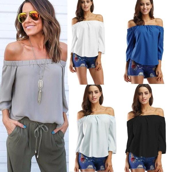 ファッション女性はオフショルダートップスロングスリーブシャツカジュアルブラウスルーズTシャツ