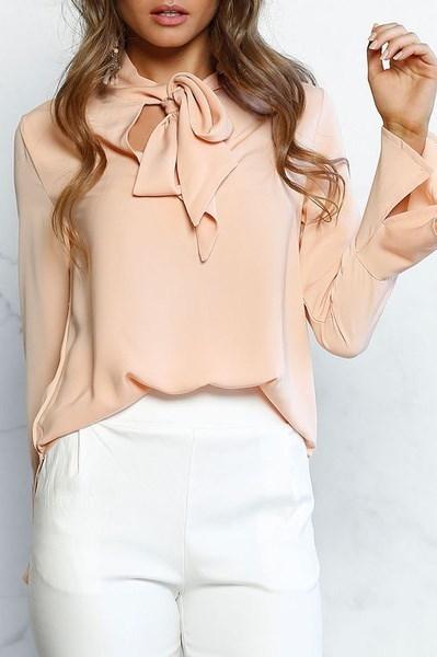 女性ファッションセクシーカジュアル包帯長袖シフォンシャツ純粋な色