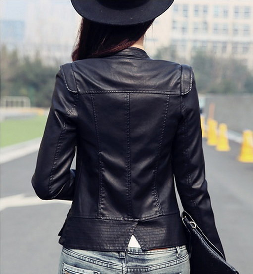2016年春新作バイクレザージャケット韓国版スリムフィットショートパラグラフジャケットBla