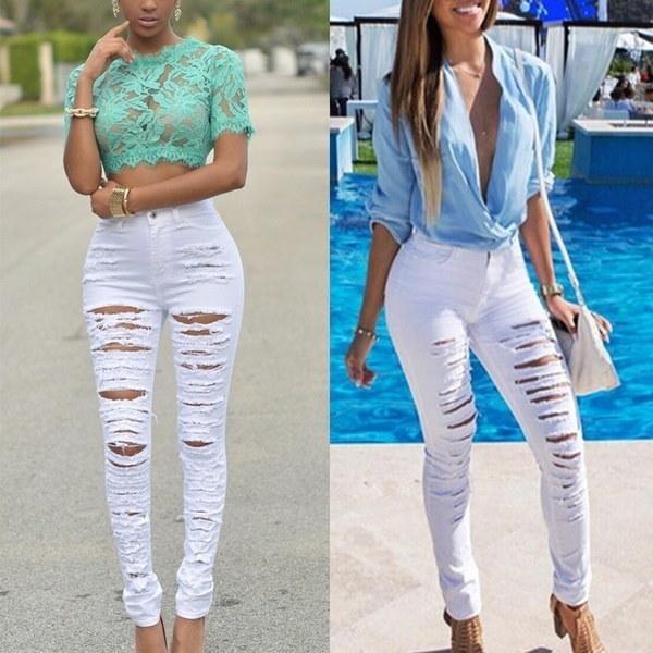 女性のファッションスリムウィンターパンツハイウエストスリムペンシルジーンズパンツスキニーリップデニムパンツ