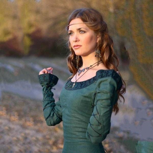 優れた品質ヴィンテージルネッサンス女性の中世のガウンゴシックトランペットスリーブレーストリムロングプラス