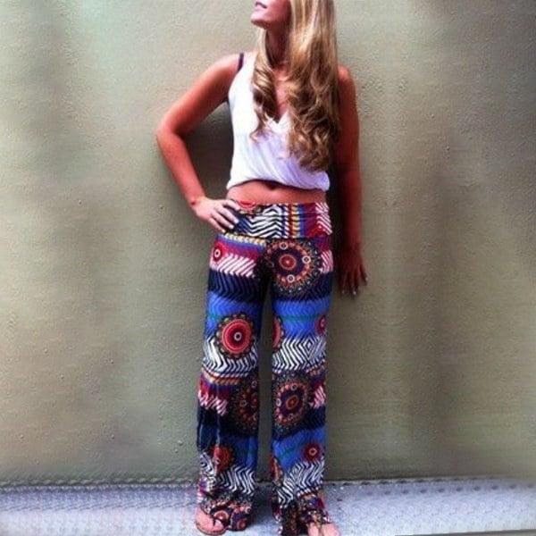 女性のファッションボヘミアンフローラルプリントルース弾性ハイウエストパンツ