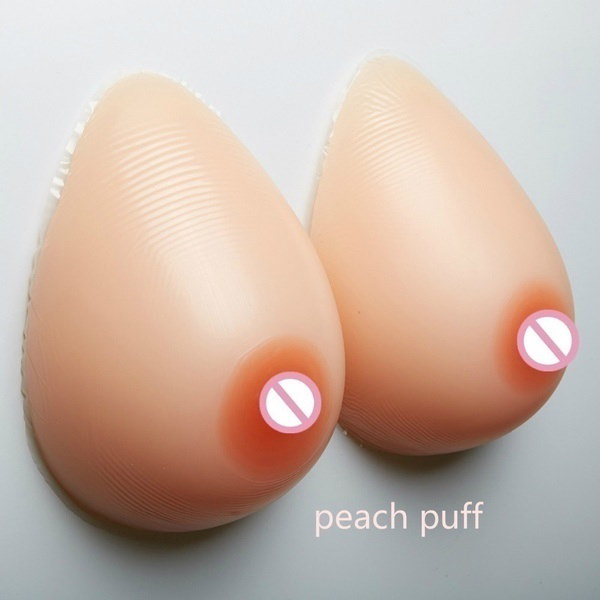300-1200g/pair Silicone Waterdrop Shaped Fake Breast Form A-D Cup Crossdresser Self-Adhesive Padded