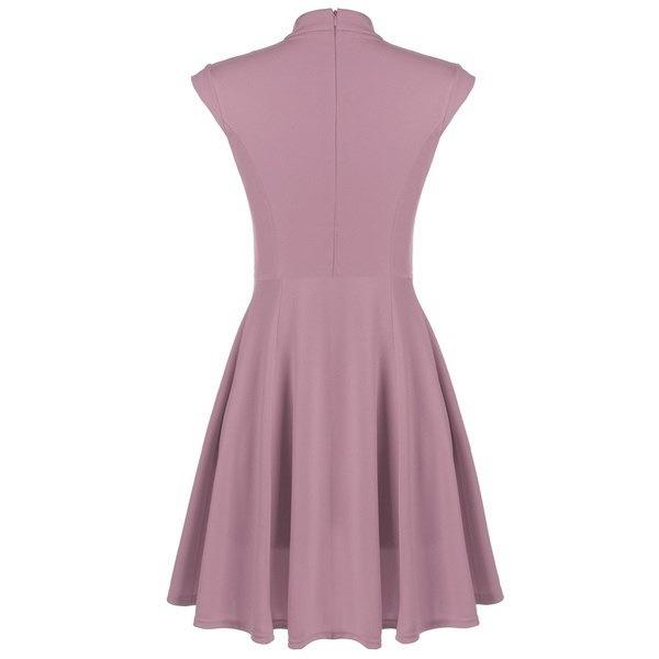 SANDYSUN Women Cap Sleeve V-neck Solid Casual Party Slim Mini Pleated Dress