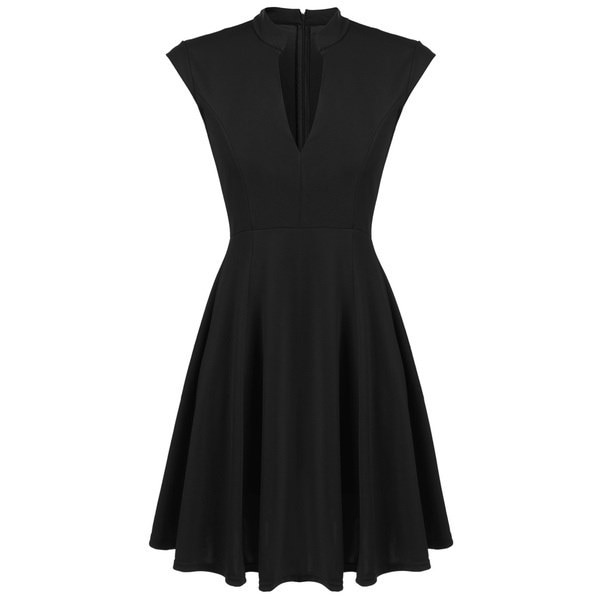 SANDYSUN Women Cap Sleeve V-neck Solid Casual Party Slim Mini Pleated Dress