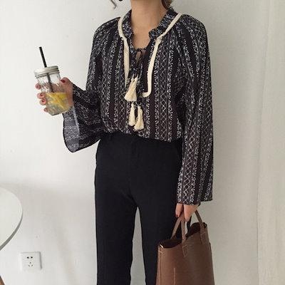 韓国ファッション 春 韓国 ショート カジュアル ゆったり 胸元リボン かわいい ダブルリボン