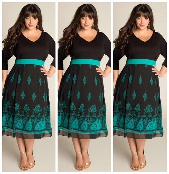 女性セクシーなVネックプリントブラックドレス膝丈プラスサイズ