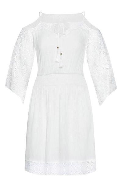 シティーシック レディース ワンピース トップス City Chic Crochet Cold Shoulder Dress (Plus Size)