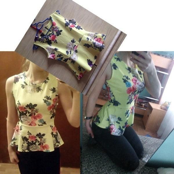 女性の花のプリントノースリーブブラウスO  - ネックコージースリムトップスシャツ