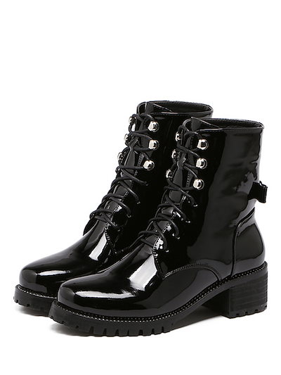 Women s Boots Fashion Chunky Heel Lace Short Martin Boots
