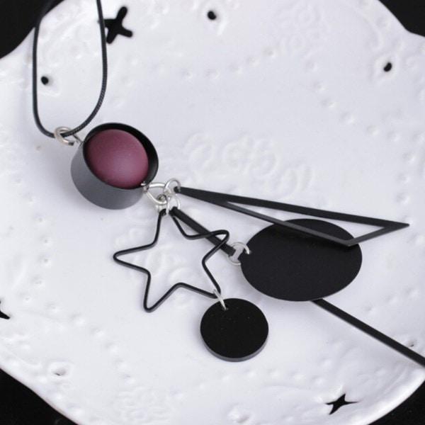 セーターチェーン野生の幾何学的な五芒星のペンダントネックレス(カラー:ブラック)(カラー:ブラック)